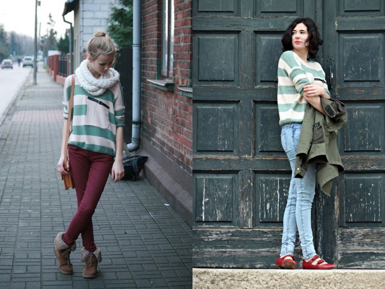 2014 green stripes loose sweater with pocket$33