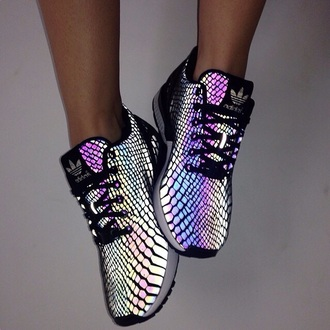 adidas glow in the dark adidas shoes holographic shoes sneakers shoes pastel