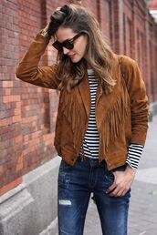 jacket,fringes,suede,stripes,ripped jeans,suede fringe jacket,style lovely,suede jacket