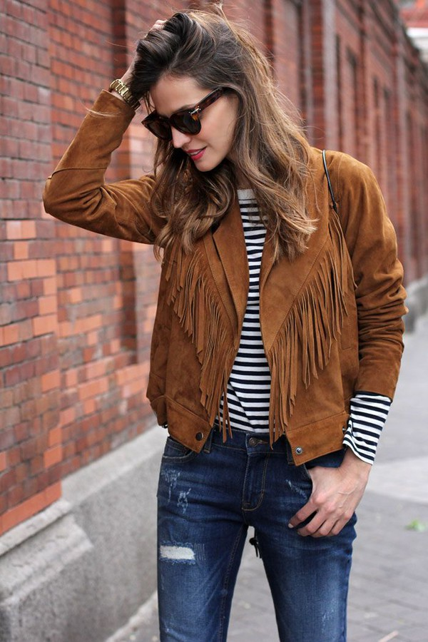 Jacket: fringes, suede, stripes, ripped jeans, suede fringe jacket ...