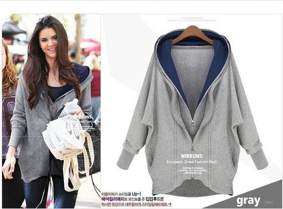 fashion short grey hoodie coat zipper double zipper women longsleeves hooded sweatshirt casual dress winter dress pullover hoodie