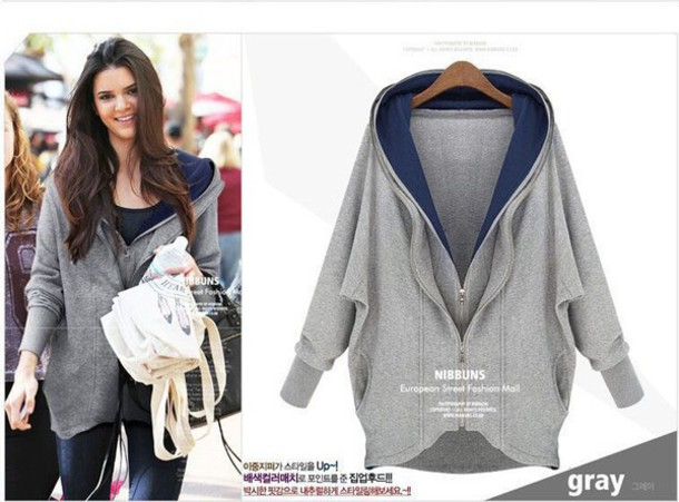 Coat: grey, hoodie coat, zip, double zipper, women, long sleeves ...
