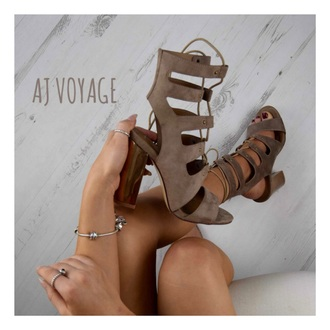 shoes suede heels beige nude rose gold ootd sandals lace up taupe colour women