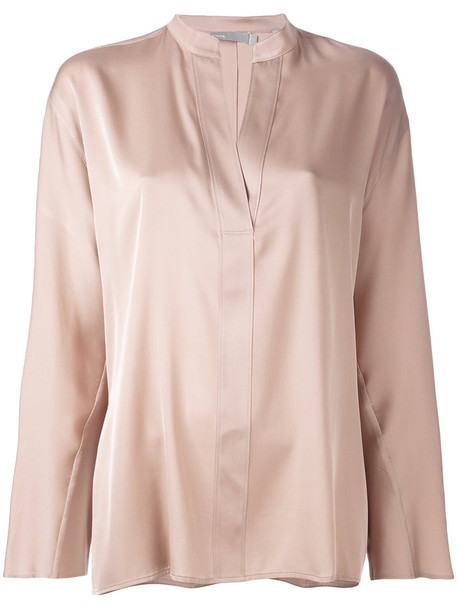 Vince blouse women spandex nude silk top