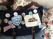 bag,arctic monkeys,buttons,pins,indie bag,school bag,tote bag,soft grunge,navy,brown