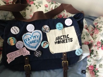 bag arctic monkeys buttons pins indie bag school bag tote bag soft grunge navy brown