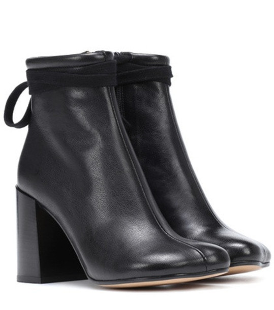 MM6 Maison Margiela Leather ankle boots in black