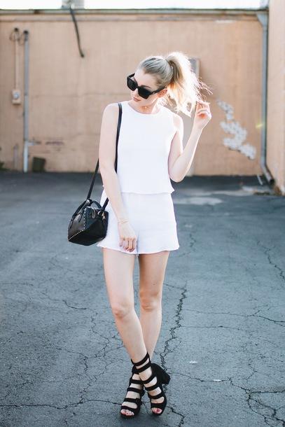 love lenore blogger romper shoes sunglasses bag shoulder bag white romper black bag sandals spring outfits