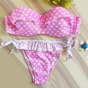 swimwear,pink,polka dots,strapless,fashion,trendy,ruffle,hot,girly,rose wholesale-ma