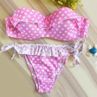 swimwear pink polka dots strapless fashion trendy ruffle hot girly rose wholesale-ma