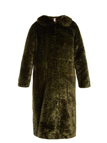 Shrimps coat fur coat fur print dark green