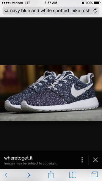 shoes nike roshes navy blue and white