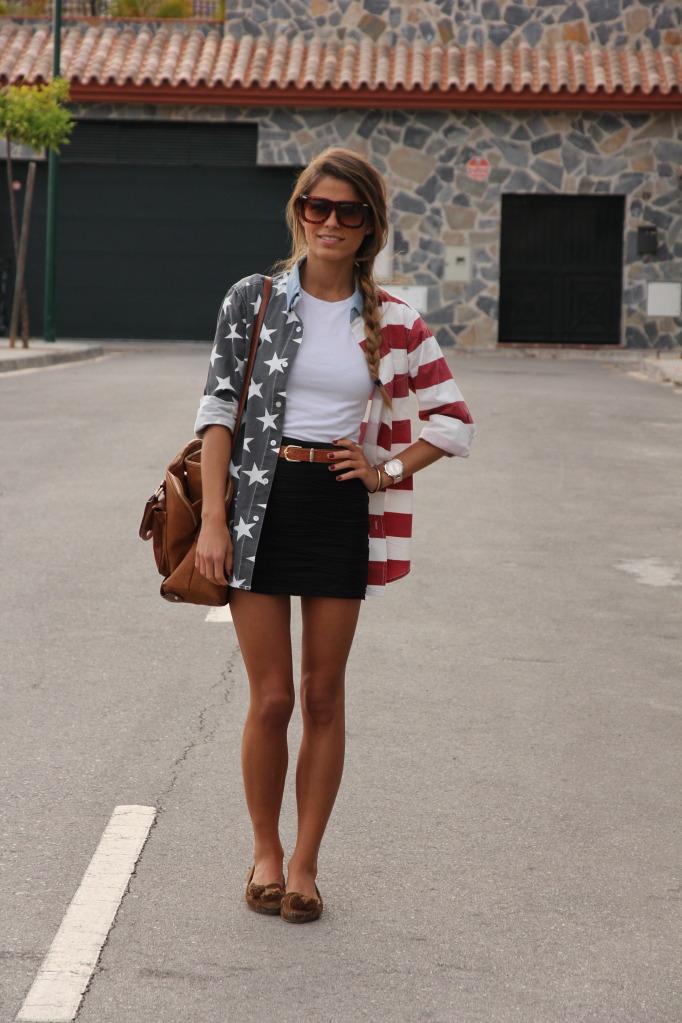 American national flat long sleeve blouse