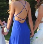 dress,blue dress,maxi dress,spaghetti strap,crossed straps,open back dresses,open back prom dress