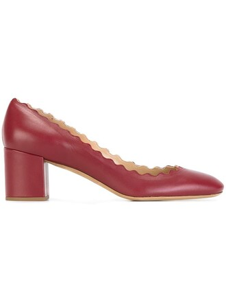 women pumps leather red shoes