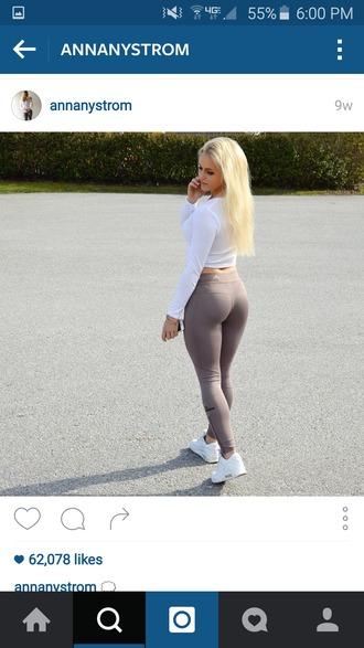 pants leggings workout leggings grey spandex running