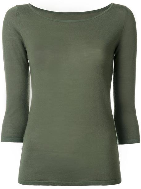 Sottomettimi - three-quarter sleeve top - women - Merino - M, Green, Merino