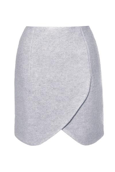 CARVEN - Юбка из плотной шерсти с ворсом жемчужно-серого оттенка, на подкладке в Интернет-магазине BRAND-IN-TREND