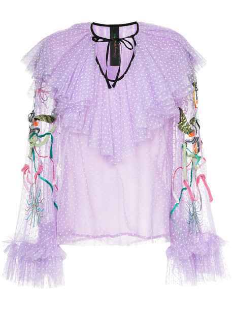 Romance Was Born blouse unicorn women beaded silk purple pink top