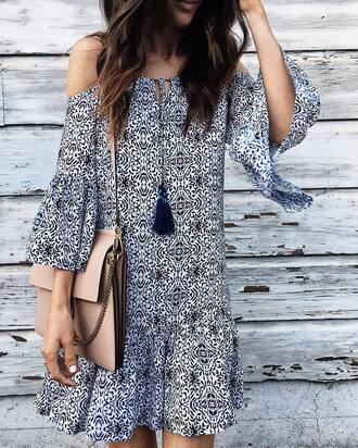 dress tumblr mini dress printed dress off the shoulder off the shoulder dress bag nude bag bell sleeves bell sleeve dress tassel