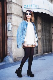 jacket,white sweater,sunglasses,denim jacket,black tights,black heels,blogger