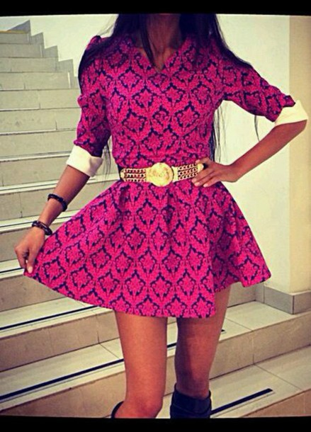 belt patterned dress pink dress gold sequins summer dress dress jumpsuit romper blouse