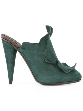 women mules leather suede green shoes