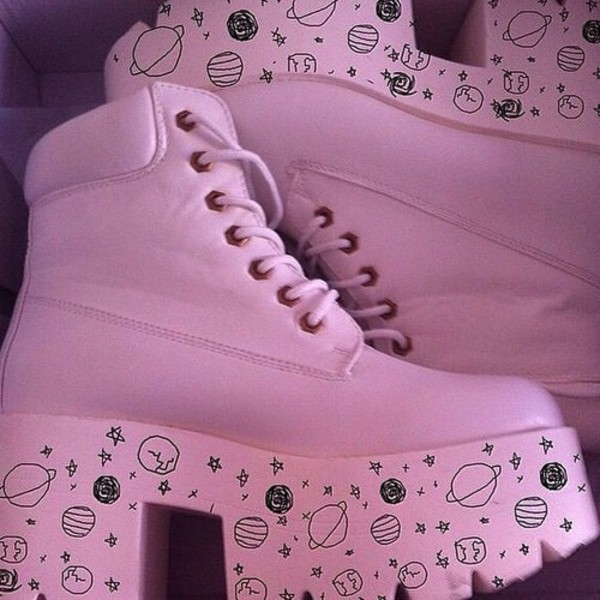 shoes pastel pink boots pastel pink space pastel goth