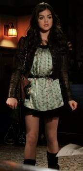 dress,aria montgomery,pretty little liars,lucy hale,vintage,boho,jacket