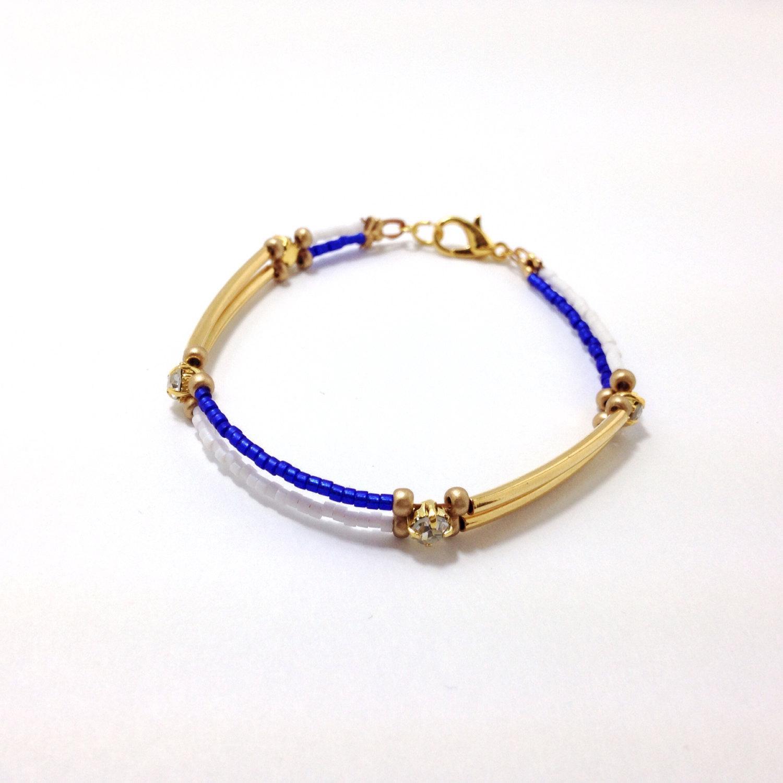 Bar bracelet, crystal beaded bracelet, dainty jewelry, minimalist jewelry , dainty bracelet, cobalt blue