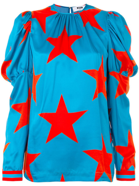 MSGM - star print blouse - women - Silk - 40, Blue, Silk