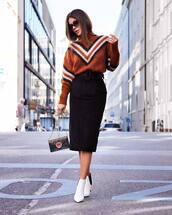 skirt,black skirt,midi skirt,slit skirt,pencil skirt,high waisted skirt,sweater,knitted sweater,booties,white sweater,mini bag,sunglasses