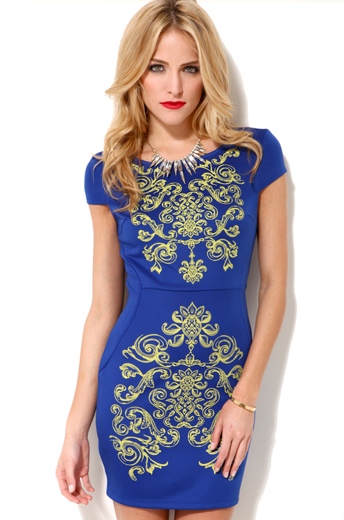 Detail Bodycon Dress in Blue