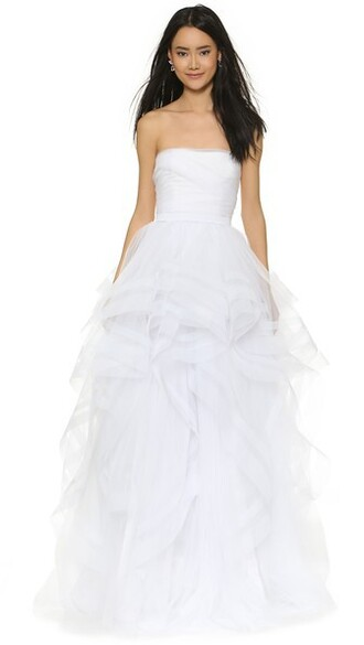 gown romantic strapless white dress