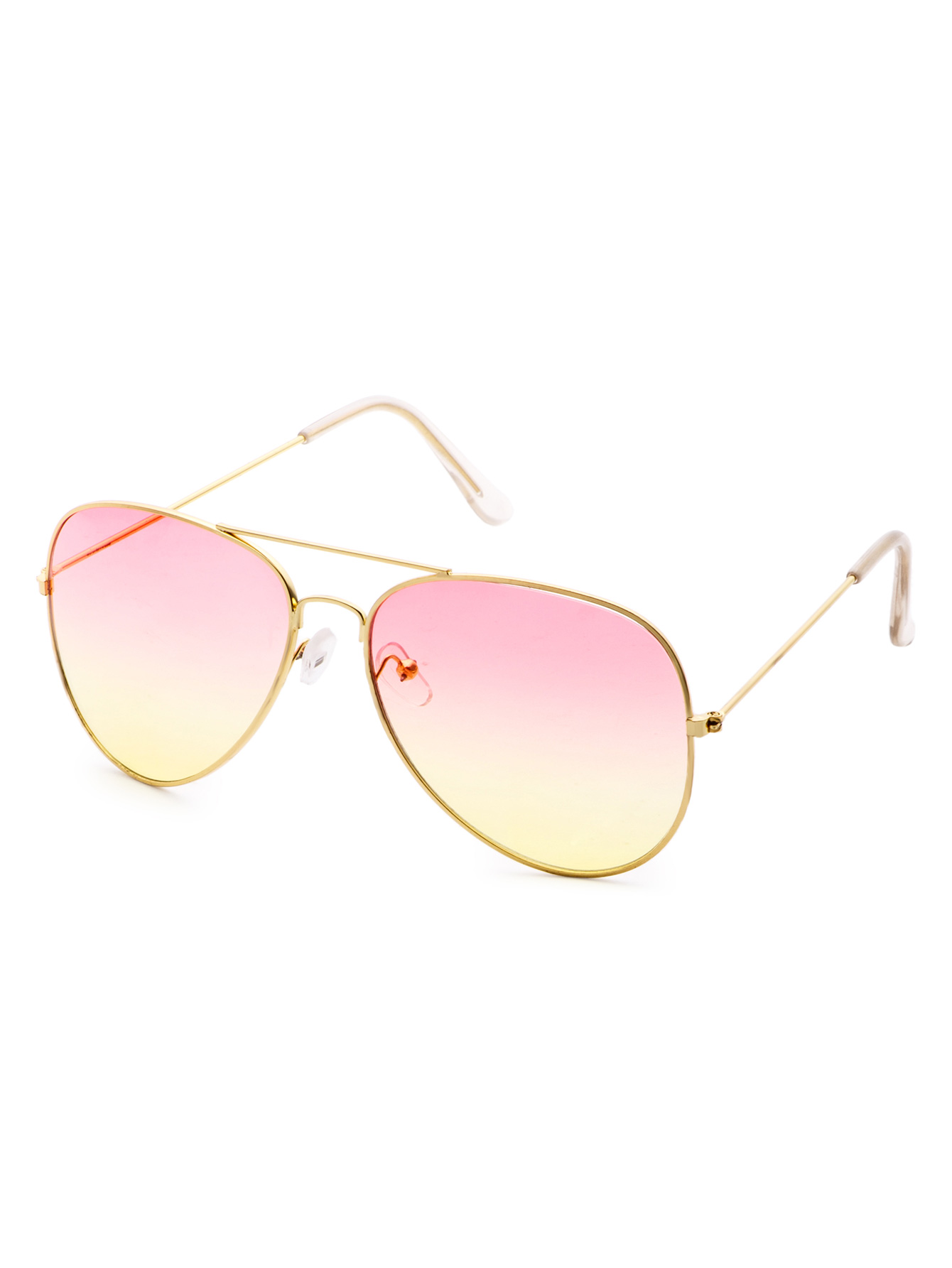 47b69f9872853 Pink And Yellow Ombre Double Bridge Aviator Sunglasses -SheIn(Sheinside)