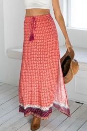 Dazzling Printed Drawstring Slit Skirt - OASAP.com