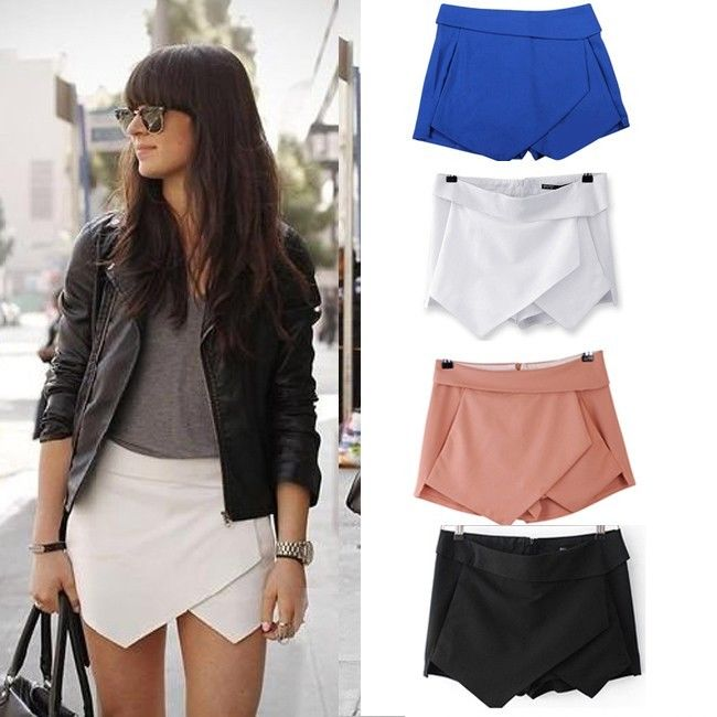 New Womens Pocket Retro Irregular Summer Shorts Pants Skirt Culotte White Black | eBay