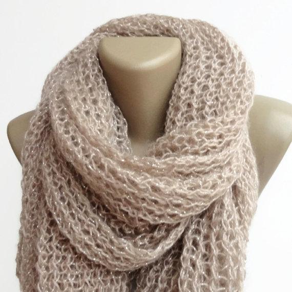 beige shawl women scarf  knitted scarf shawl  by senoAccessory