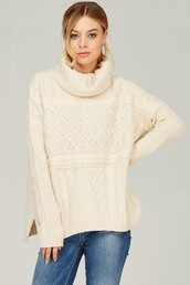 sweater,cream,cowl neck,cable knit