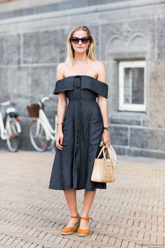 a love is blind streetstyle blogger dress shoes bag le fashion image sunglasses reformation reformation dress midi dress blue dress off the shoulder off the shoulder dress espadrilles sandals flat sandals mustard beige bag handbag spring outfits cat eye