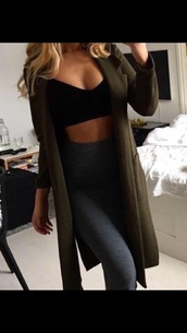 coat,khaki green,olive green,dark green,jacket,black crop top,parka,long jacket,green parka,tights,sweater,green,Khaki coat,khaki pants,outfit idea,green coat,olive green coat,jeans,clothes,long cardigan,long coat,ripped jeans,crop tops,leggings,long sleeves,formal,pretty,gorgeous,beautiful,cute,need this!!!,coats and jackets,womens down coats,trench coat,camel coat,style,duster coat