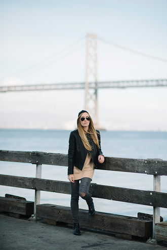 eat sleep wear blogger jacket jeans rock aviator sunglasses camel ripped jeans