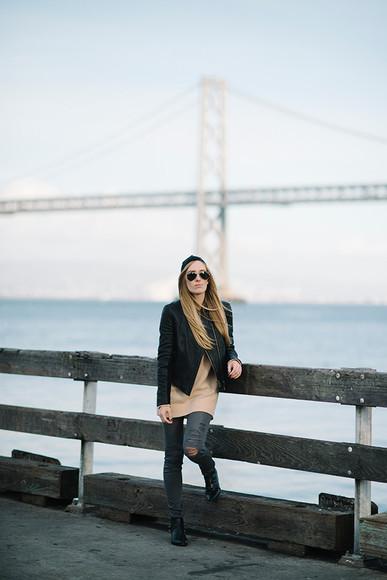 rock blogger jeans jacket eat sleep wear aviator sunglasses camel ripped jeans