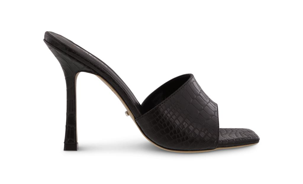 Flora Black Alligator Heels