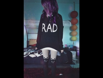 sweater rad style purple hair leggings winter sweater cat sweater