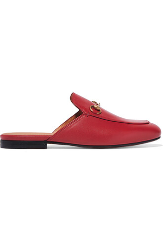slippers leather red shoes