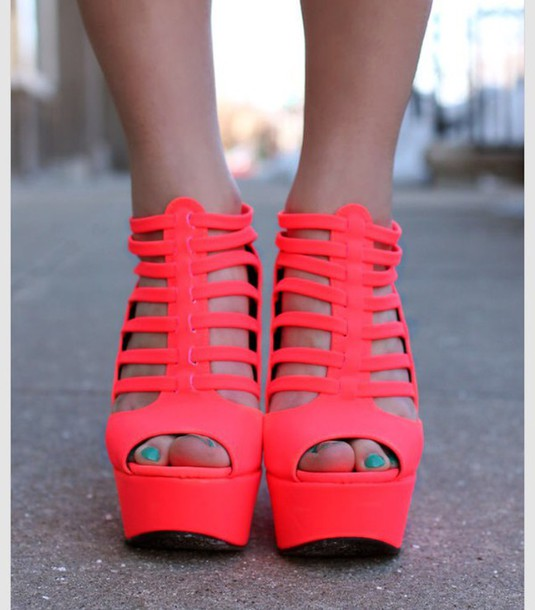 shoes neon pink pink sandals high heels