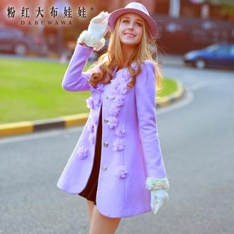jacket purplr flowers floral lilac buttons