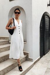 dress,white dress,maxi dress,black sunglasses,belt bag