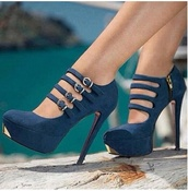 shoes,high heels,heels,clothes,lovely,prom,navy,gold,blue,blue shoes,strappy shoes,strappy heels,high heel,platform pumps,platform high heels